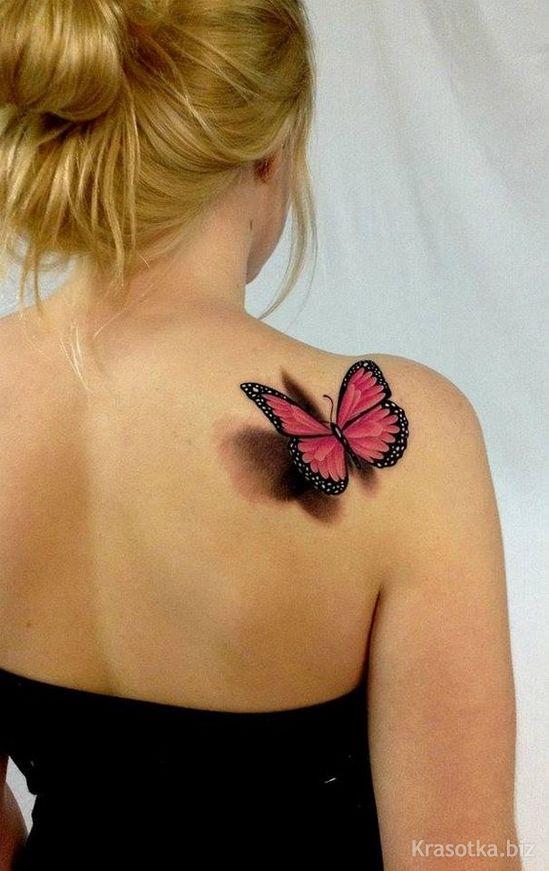 Butterfly violets tattoo on shoulder