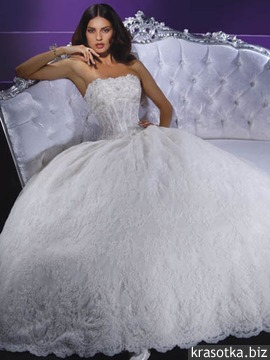 Пышное свадебное платье. Силуэт Принцесса