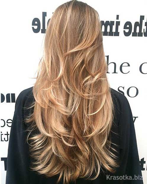 стрижка эффект нарощенных волос на длинные