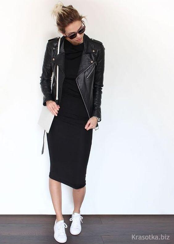 черное платье с белыми кроссовками фото